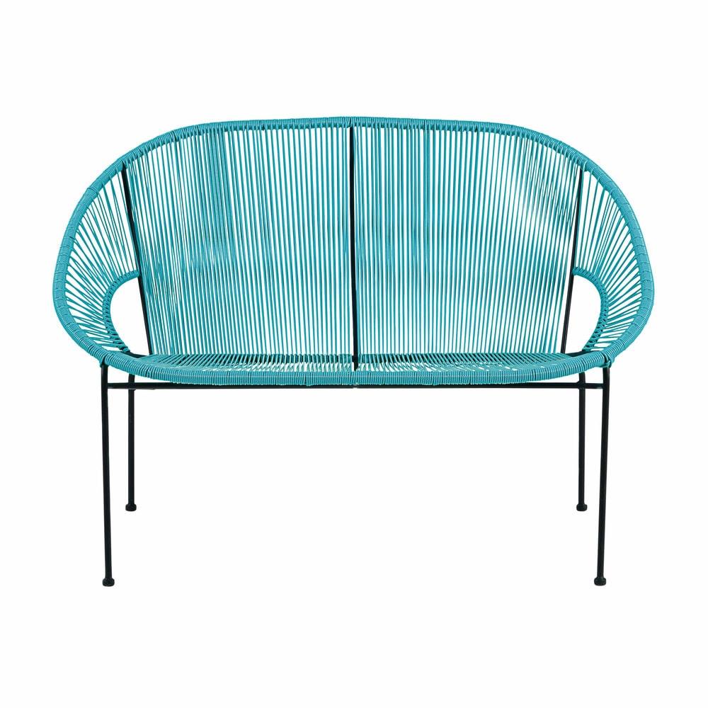 Gartenbank 2/3-Sitzer aus blauem Kunstharz-Gewebe und schwarzem ...