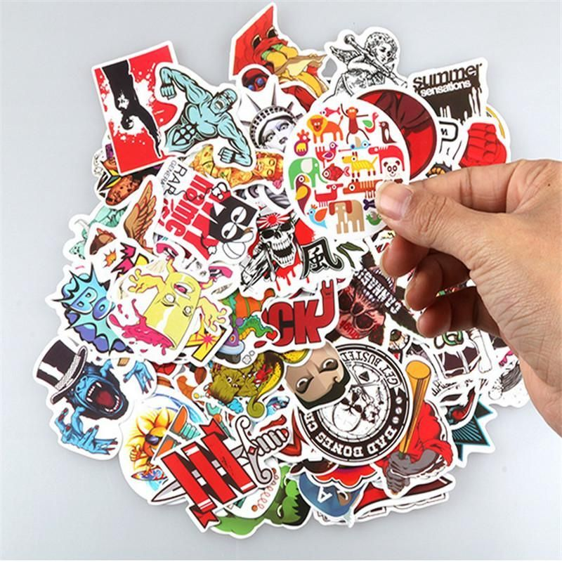 New hot sale 50 pcs set without repeat different pvc waterproof personalized graffiti sticker motocycle