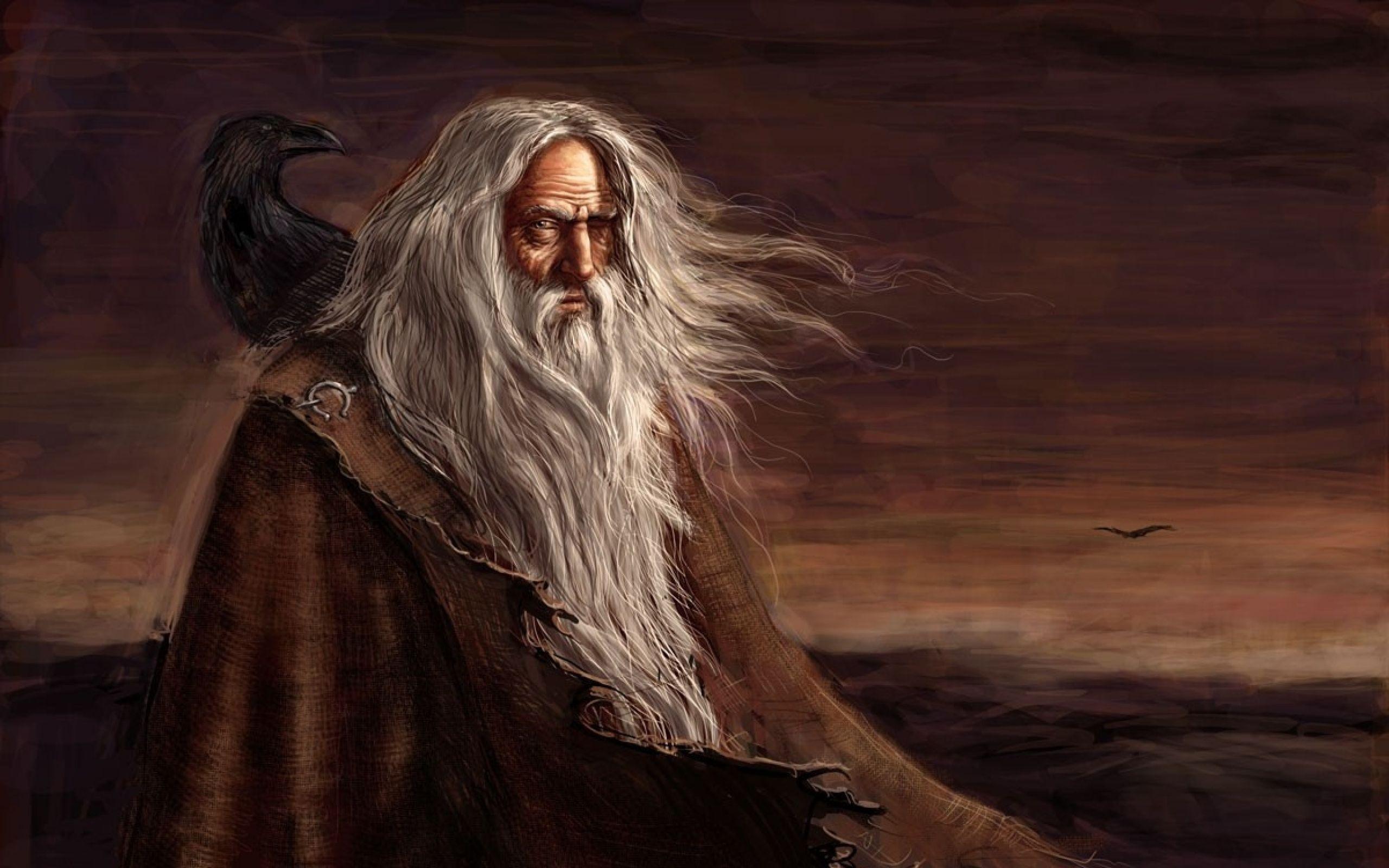 fantasy art odin mythology ravens gods paganism Wallpaper ...