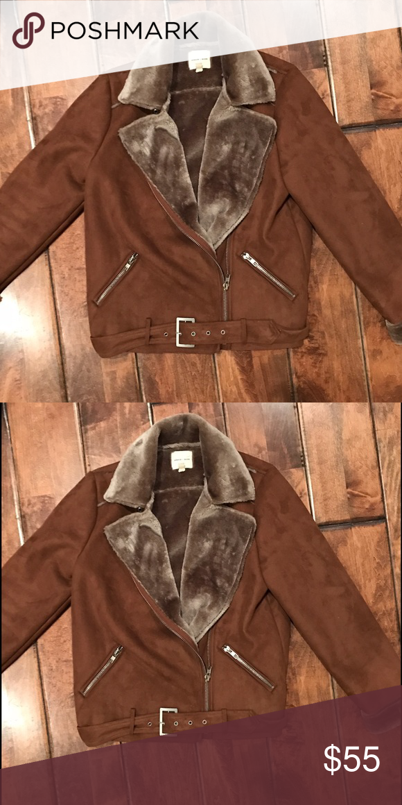 Silence and noise faux suede jacket Maybe worn once. In great condition. Super cute and warm! Size M, fits 6-8 silence + noise Jackets & Coats