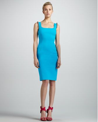 Beaded Shoulder Sheath Dress Turquoise By Versace At Neiman Marcus