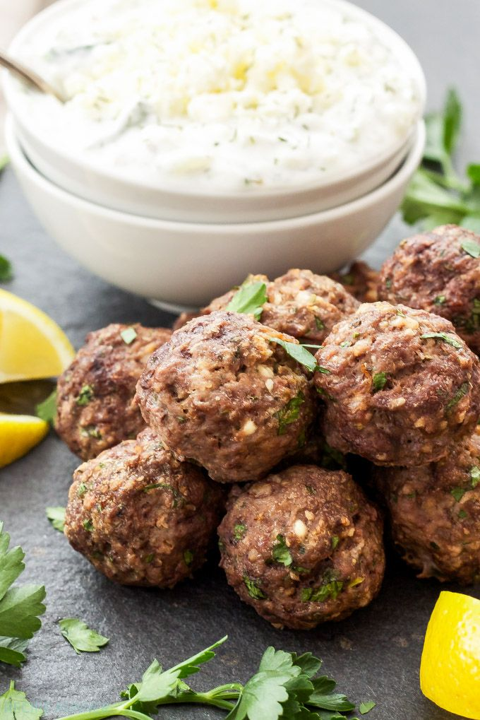 Greek Meatballs With Tzatziki Sauce Meatballs Loaded With Spices Lemon Zest And Feta Chee Ground Beef Recipes Easy Ground Beef Recipes Healthy Greek Recipes