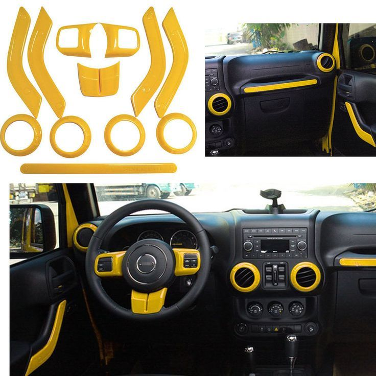 Yellow Interior Handle Cover Steering Wheel Air Outlet