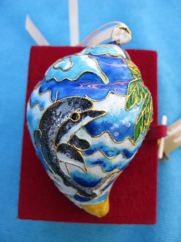 DILLARDS CLOISONNE SEASHELL DOLPHIN CHRISTMAS ORNAMENT**NEW ...