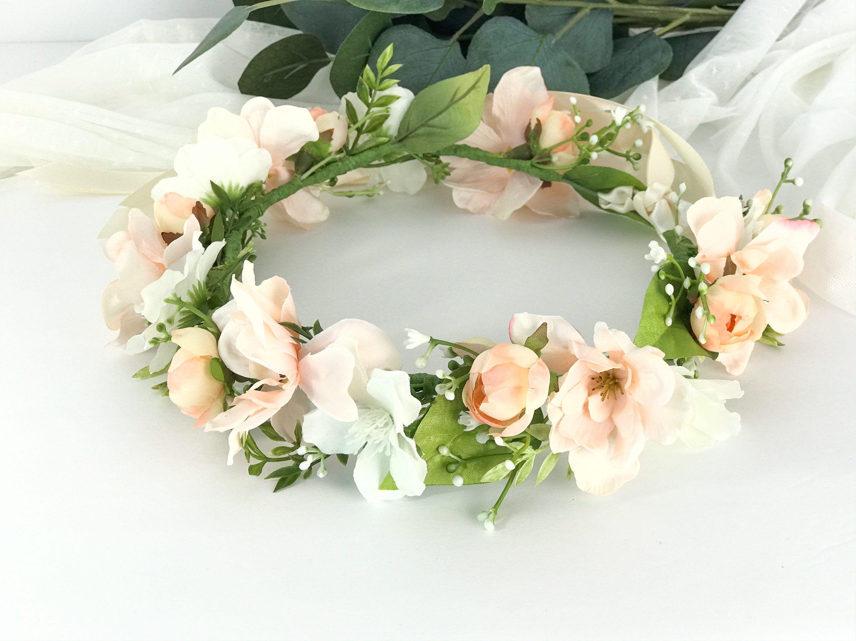 pale peach white floral crown peach white flower headband bohemian hair wreath Peach flower crown wedding
