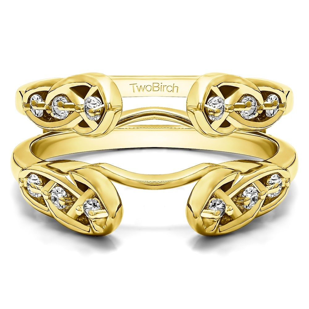Yellow Gold Infinity Celtic Ring Guard Enhancer set with