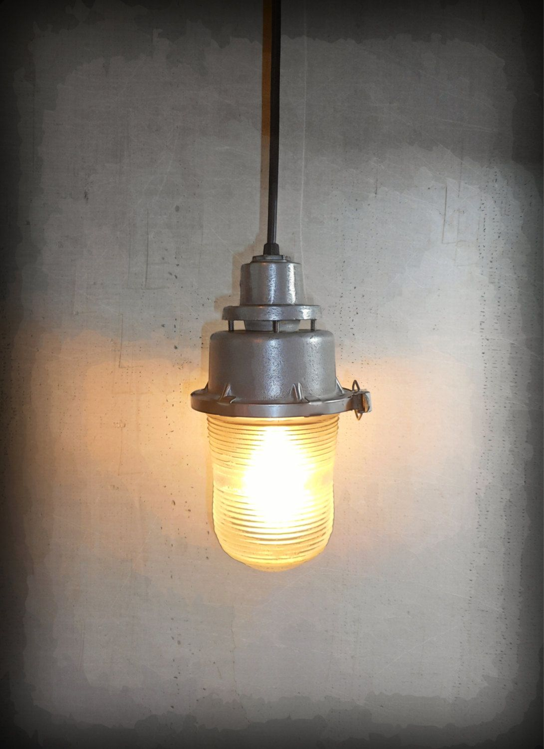 Found Object Industrial Light Pendant   Post Apocalyptic Obstruction Metal  Lamp   The Pendulum ©