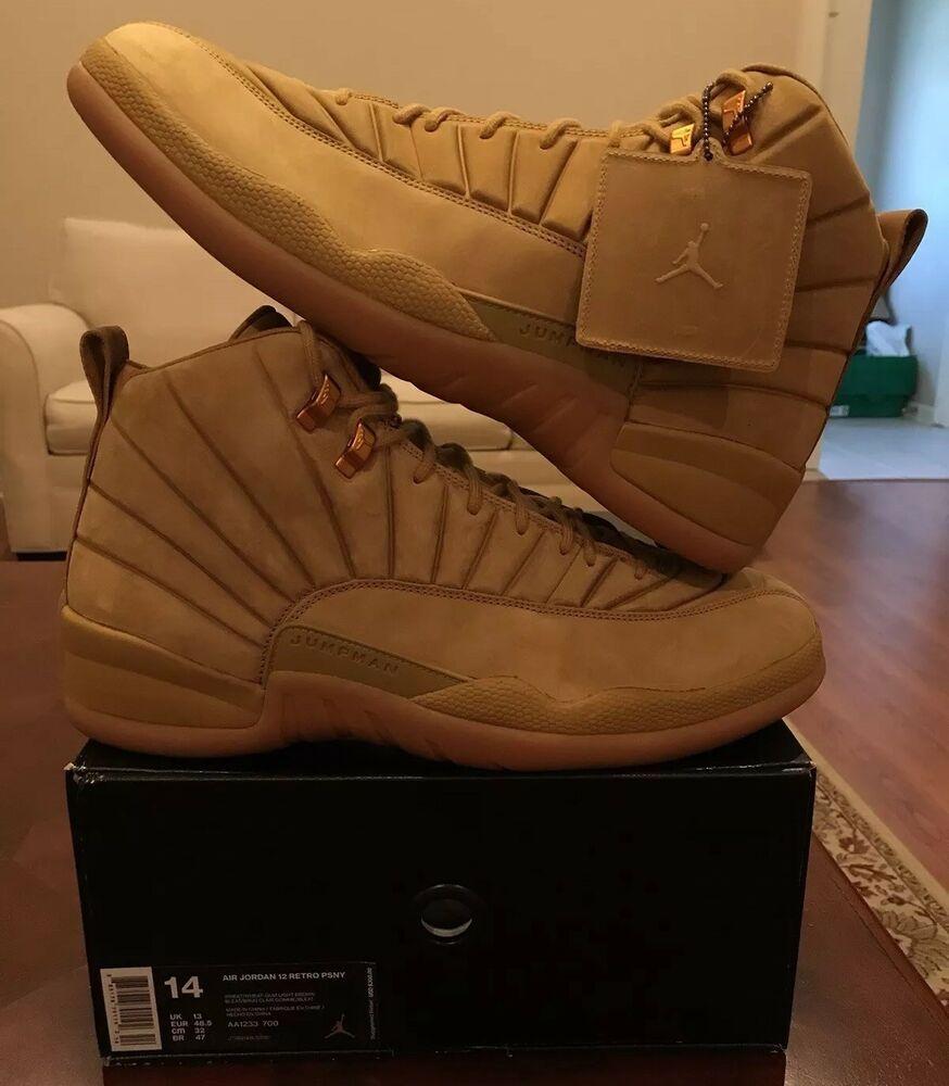 5111da2f19ee eBay  Sponsored Nike Air Jordan 12 Vii PSNY Wheat NYC 14 Public School  AA1233-