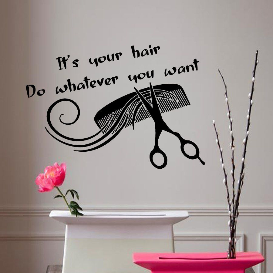 Wall Decals Vinyl Decal Sticker Hair Salon Quote Comb Art Interior - Custom vinyl wall decals for hair salon