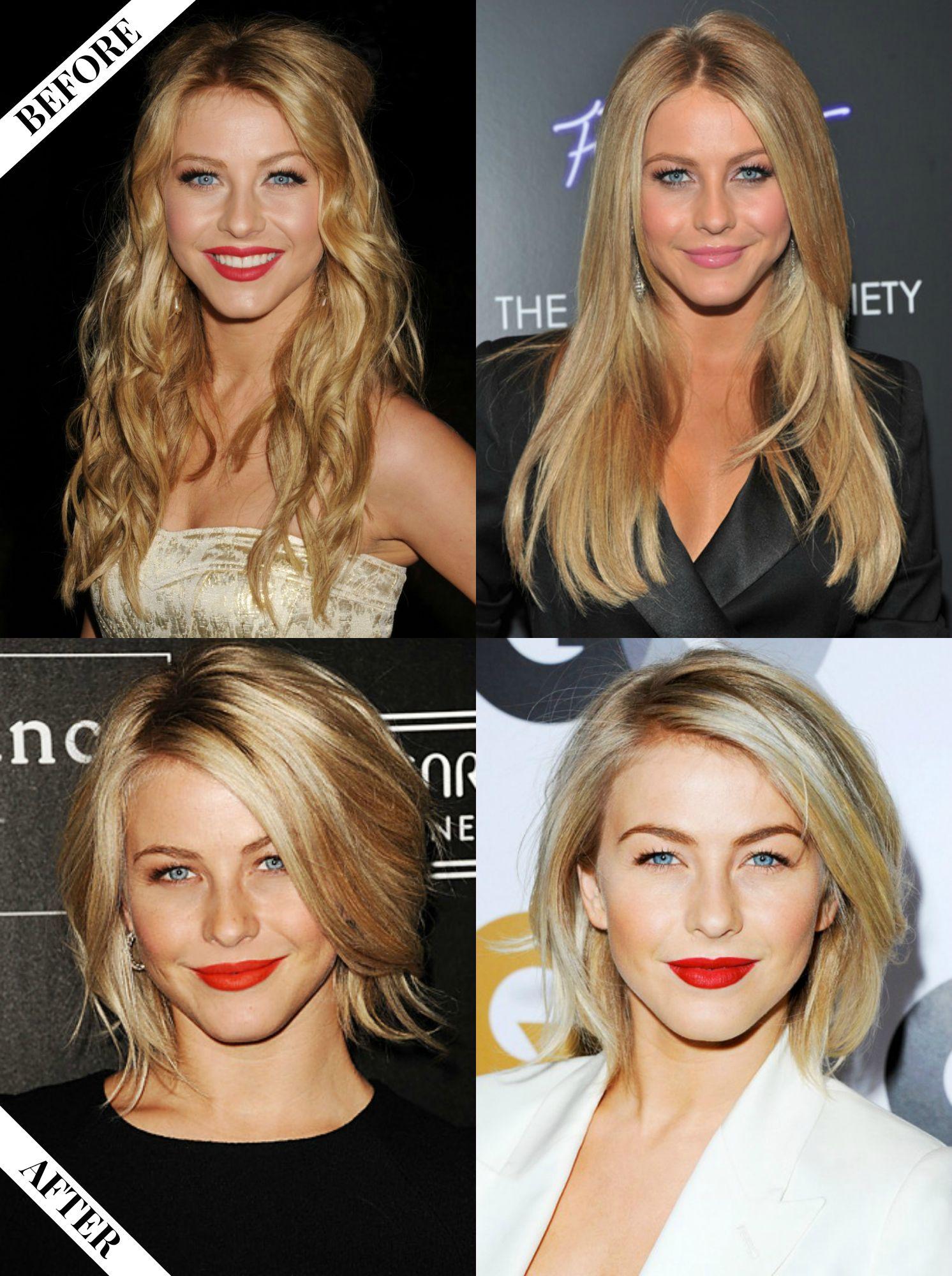 Julianne Hough Long To Short Hair Before After Haircut Long To Short Hair Short Hair Balayage Long Vs Short Hair