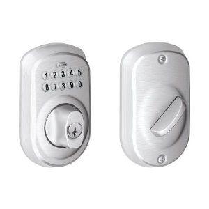 Schlage Camelot Satin Nickel Electronic Door Lock With Accent Door Lever Featuring Flex Lock Fe595 Cam 619 Acc Schlage Accent Doors Home Depot