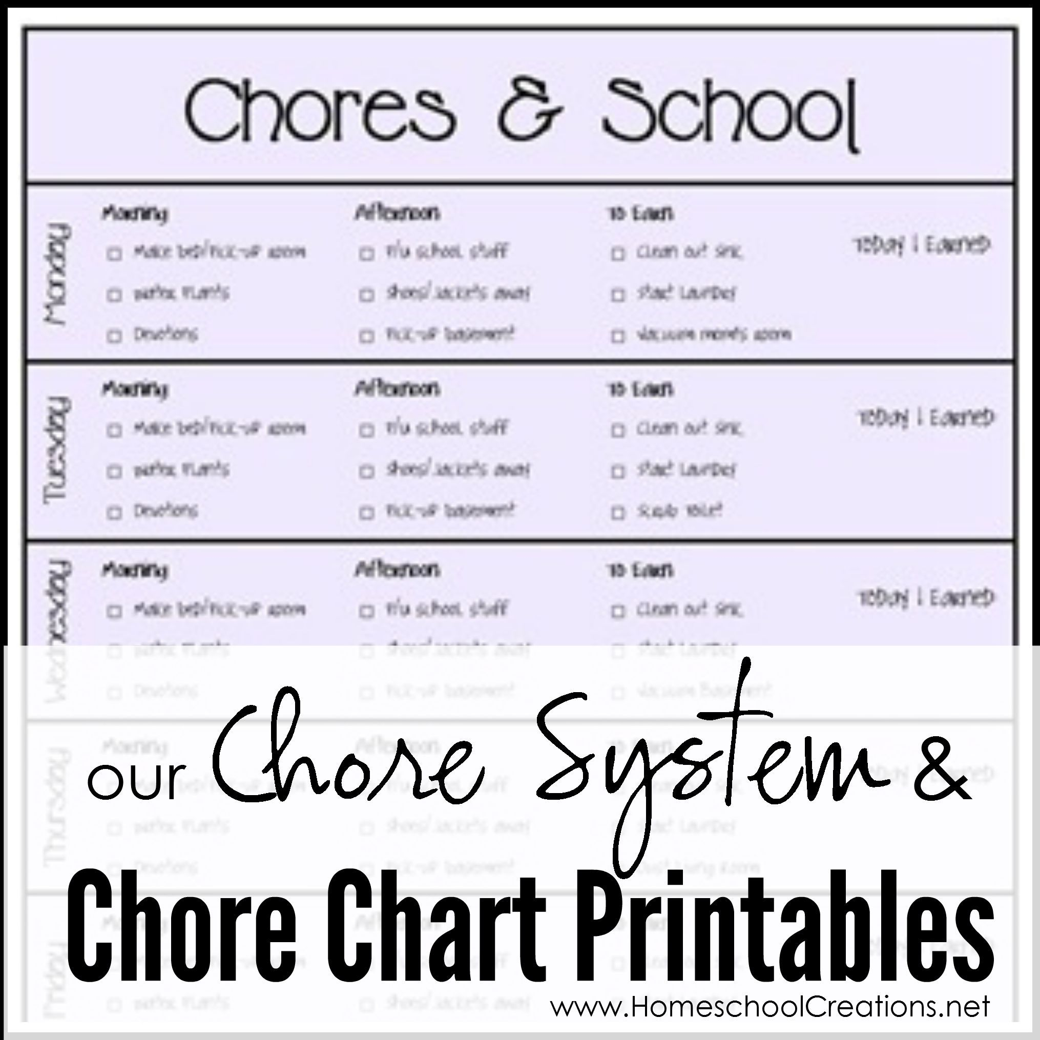 Our Chore System Amp Chore Charts For Kids Printables Organization