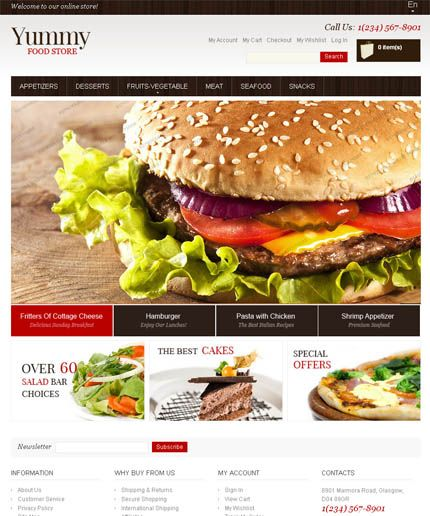 Free yummy magento template from template monster free magento free ecommerce magento themes with responsive design choose our best free responsive ecommerce magento themes and templates to customize your online store pronofoot35fo Gallery
