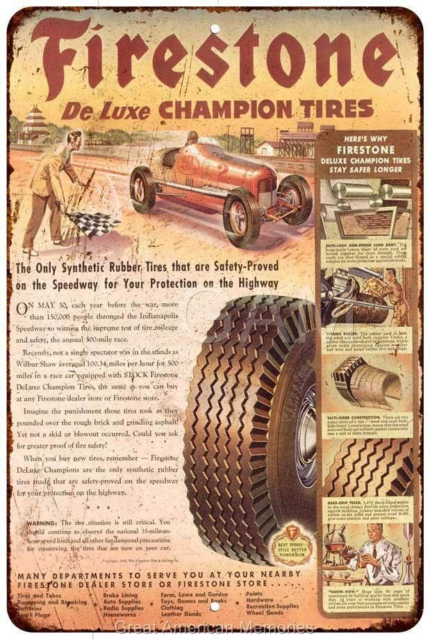 1945 Firestone Tires Vintage Look Reproduction 8x12 Metal Sign