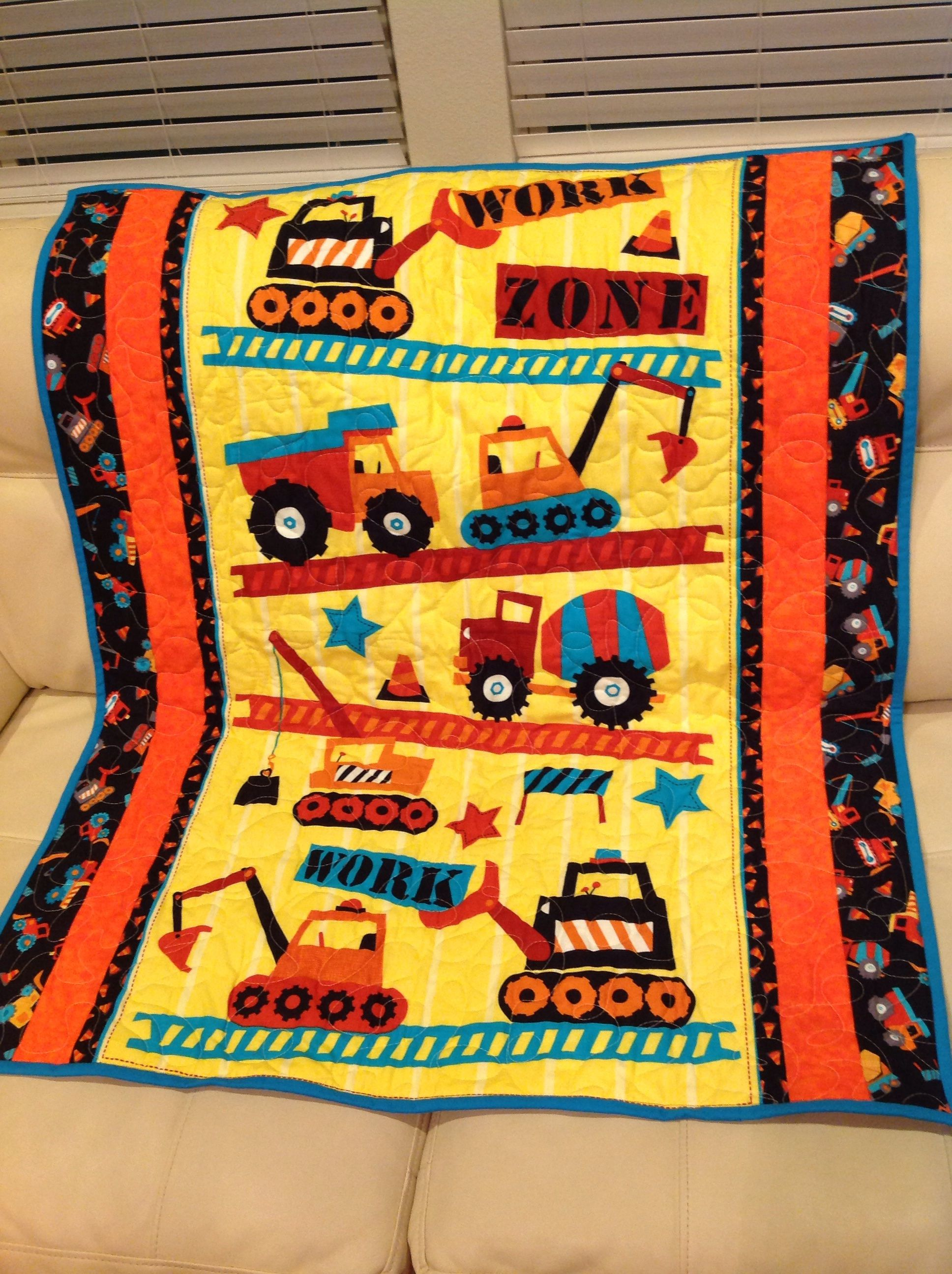 Baby boy construction quilt. Yellow flannel, Quilts