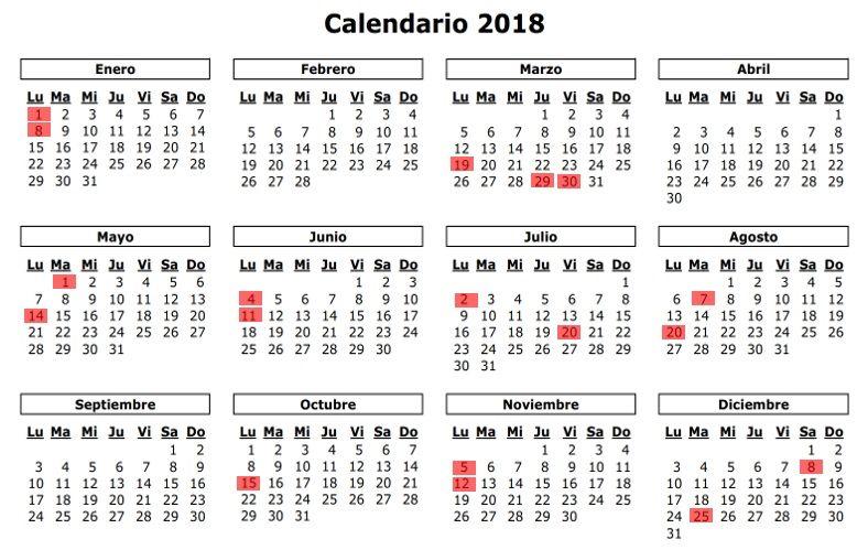 Calendario Colombiano.Calendario Y Festivos En Colombia 2018 Tierra Colombiana