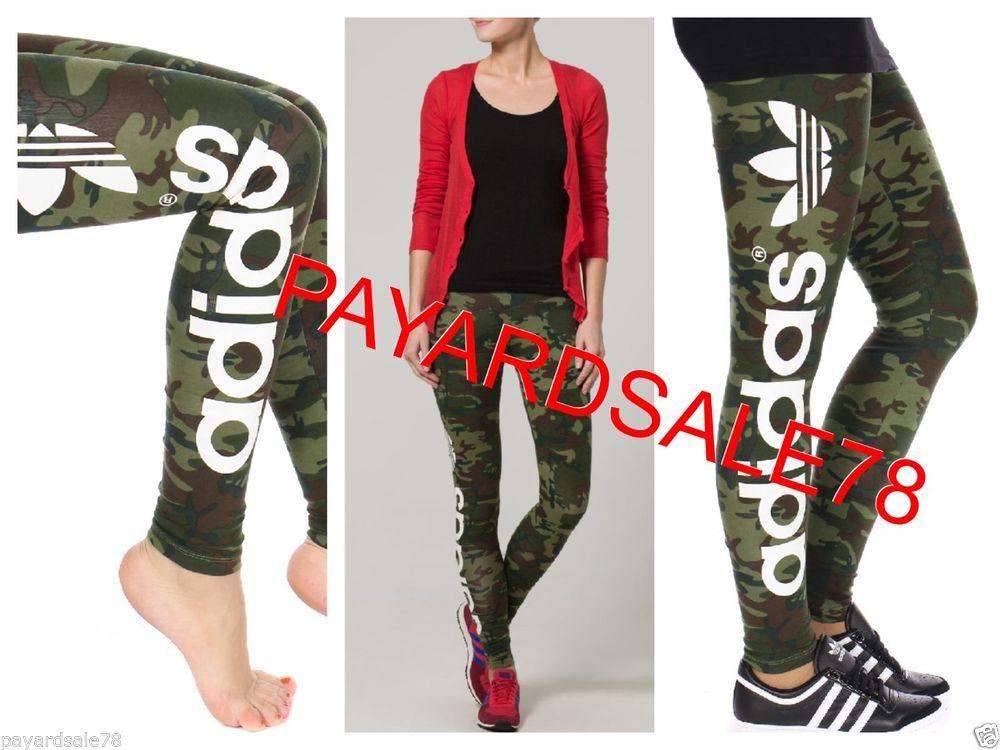 WOMEN\u0027S SIZE LARGE ADIDAS BBALL CAMO LEGGINGS TIGHTS PANTS SPANDEX RUNNING  SEXY #adidas