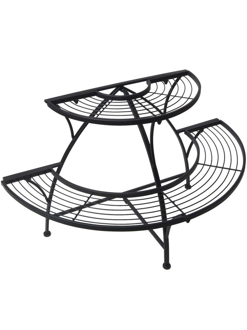 This Indoor Outdoor Metal Plant Stand Displays Multiple Plants In A Compact E Combine Two Semi Circular Stands To Create Full Circle Display