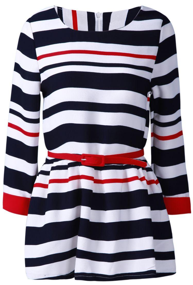 Striped belted threads pinterest ruffle dress ruffles and navy