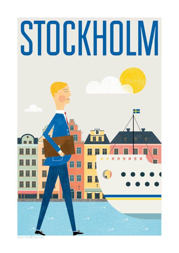 city print travel poster stockholm stockholm print by TomasDesign