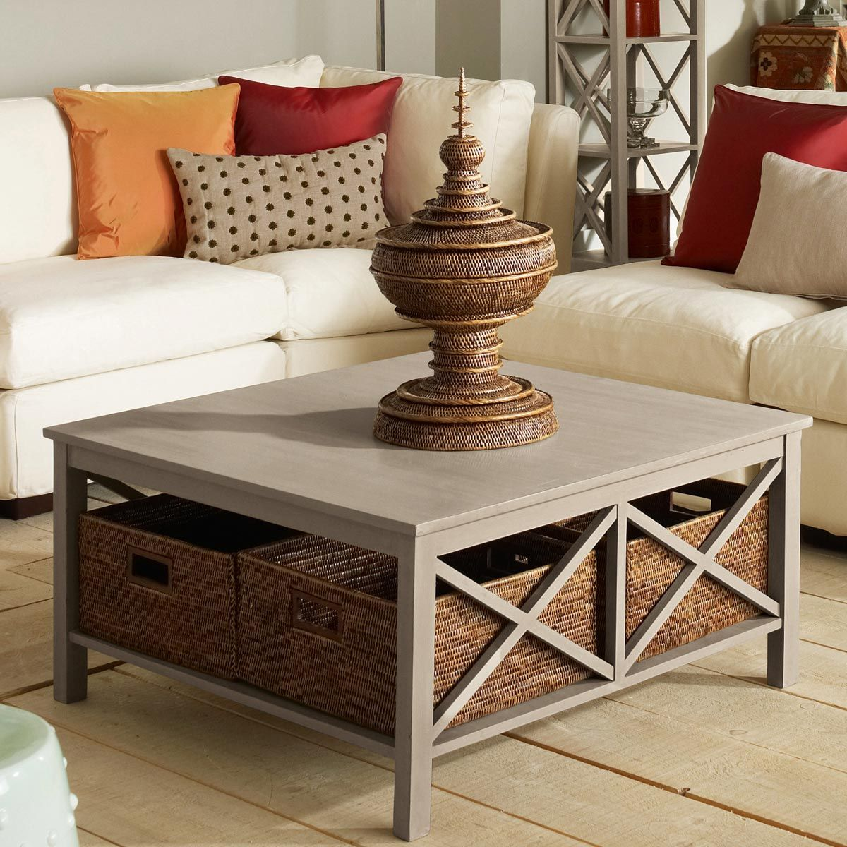 Saltire Large Square Coffee Table With Storage Cream Natural