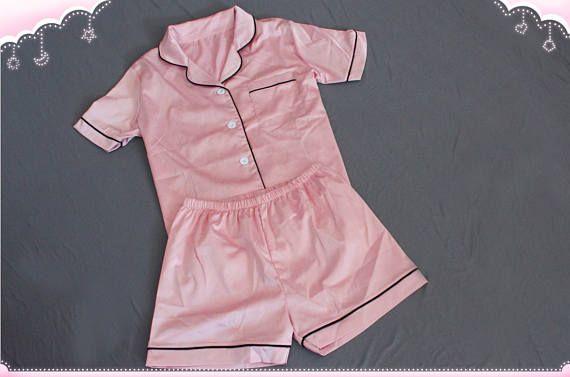 2b78b99ad7bc1 Pink satin Bridal Pajamas Set