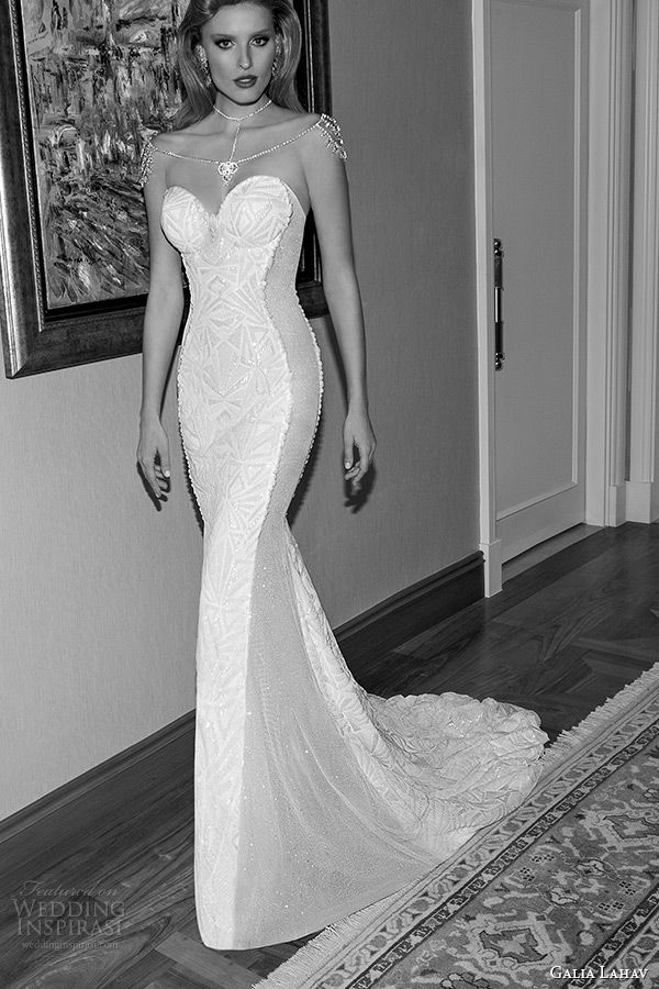 Galia Lahav 2017 Jazz Age Wedding Dress Strapless Bustier Bodice Sheer Sided Art Deco Sheath Bridal