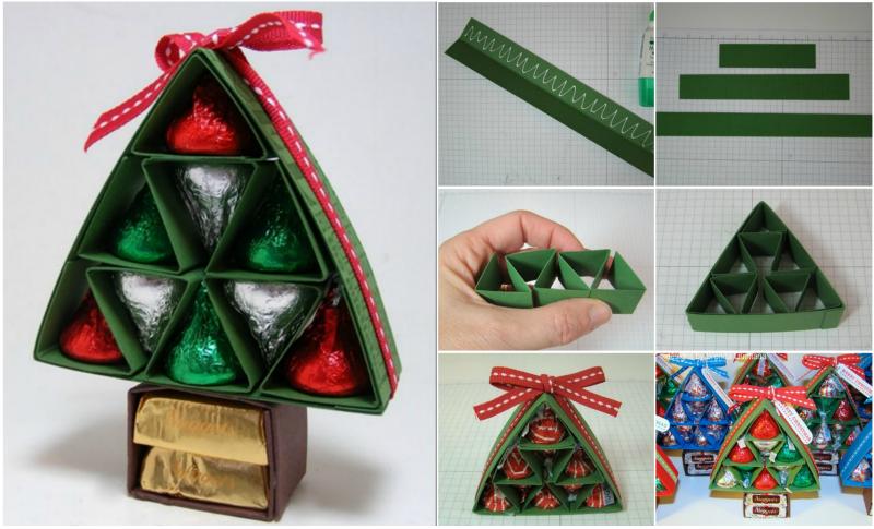 Diy Kiss Kiss Chocolate Christmas Tree Gift Package Christmas Tree With Gifts Diy Christmas Box Christmas Packaging