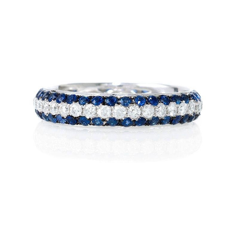 56ct Diamond And Blue Sapphire 18k White Gold Eternity Wedding