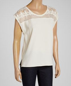 Cream Lace Cap-Sleeve Top | Something special every day