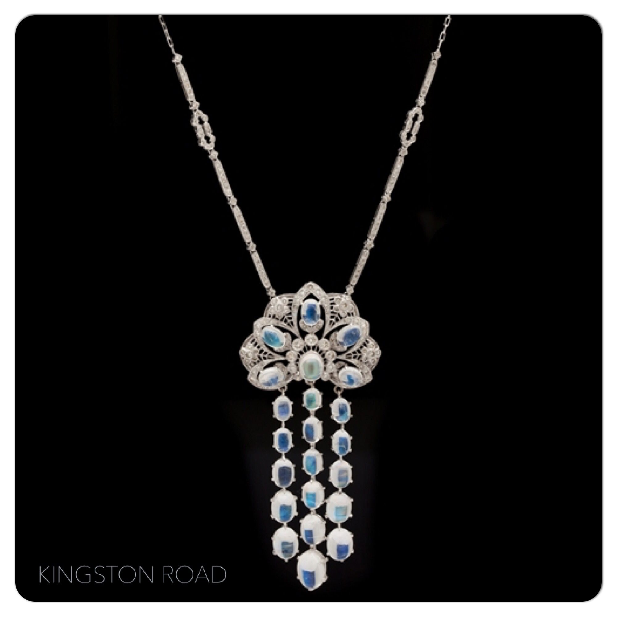Ct moonstone u diamond lavaliere necklace custom kt necklace