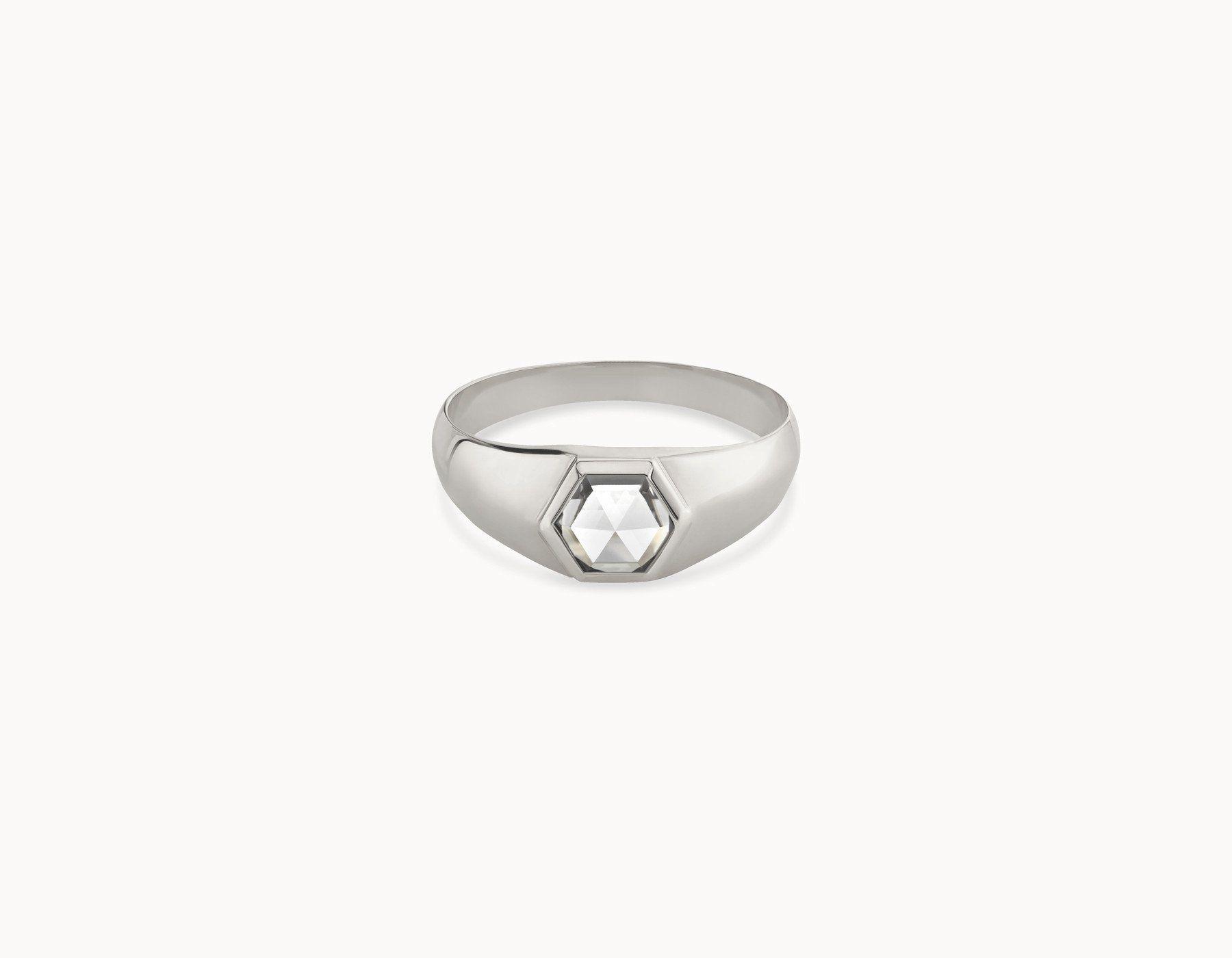 156db5e46e Vrai & Oro Black Label Rose Cut Hex Signet Ring The Rose-Cut Hex Signet