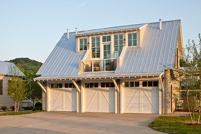 Three-car detached garage with metal roof. Get the look with Clopay ...