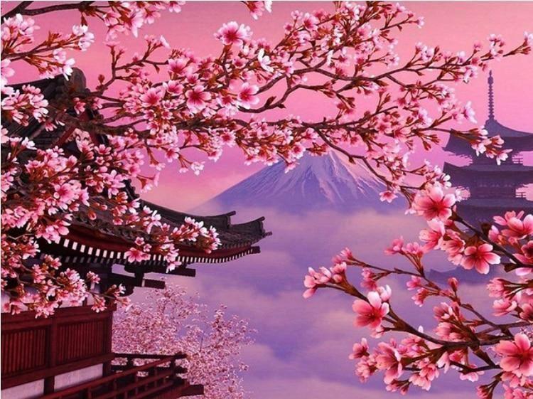 Scenery Diamond Painting Cherry Blossom Painting Cherry Blossom Wallpaper Japanese Wallpaper Iphone