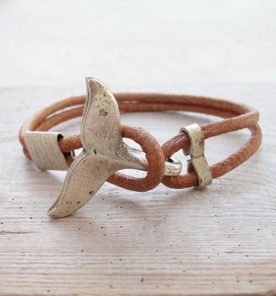 Walendstück Armband – nautischen Armband Strand Schmuck Leder und Metall