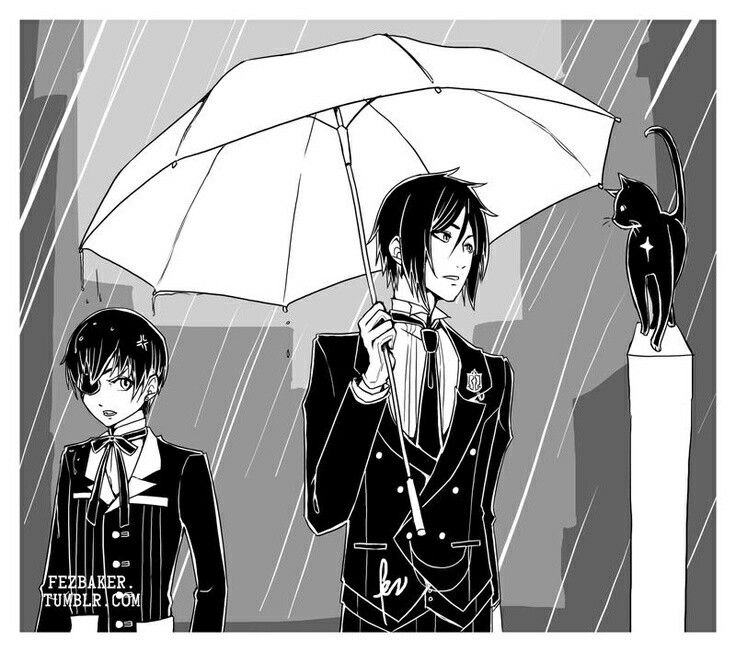 Ciel Phantomhive and Sebastian Michaels with a black cat || Black Butler