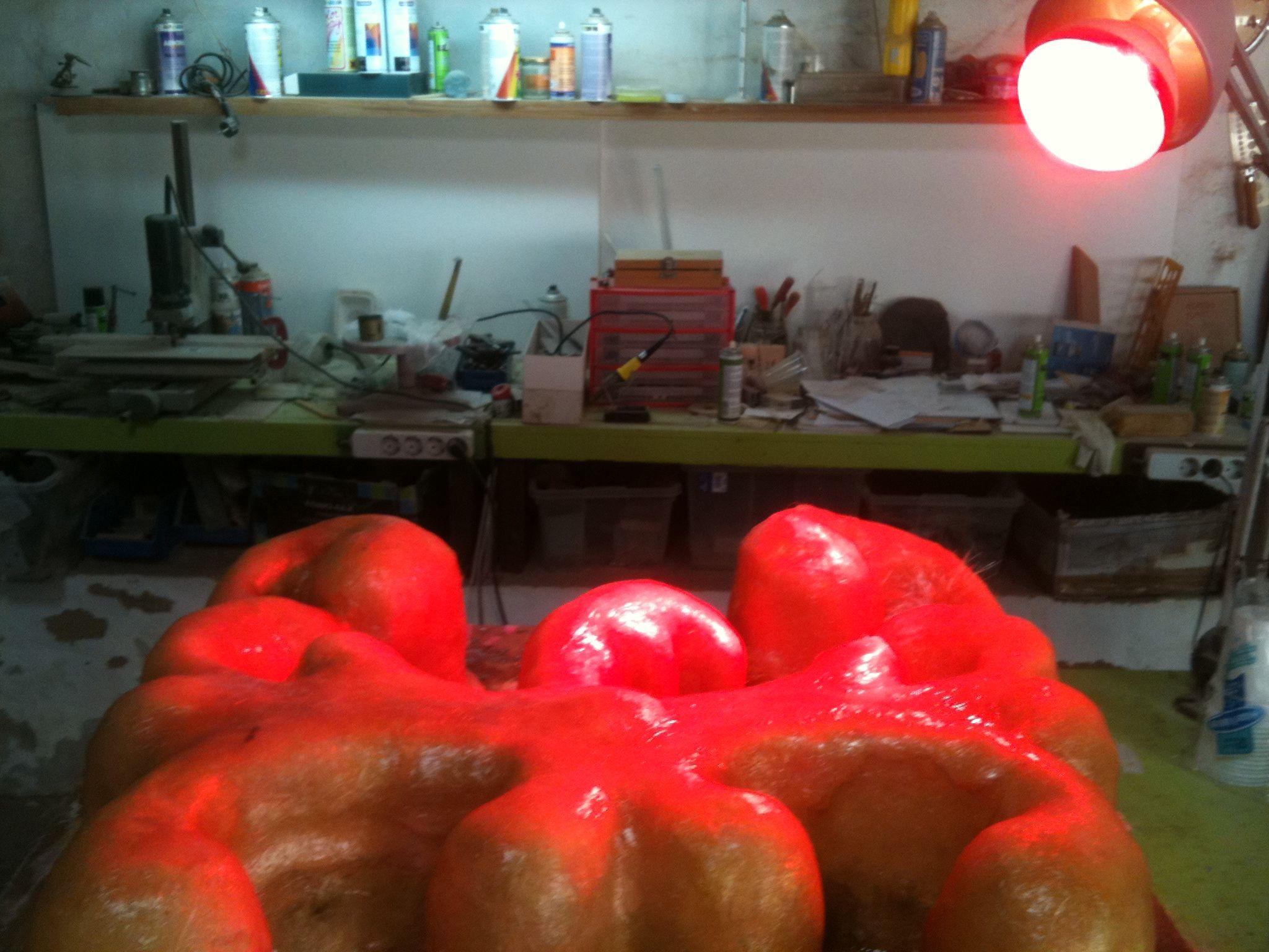 Luz de infla-rojos, secado silicona