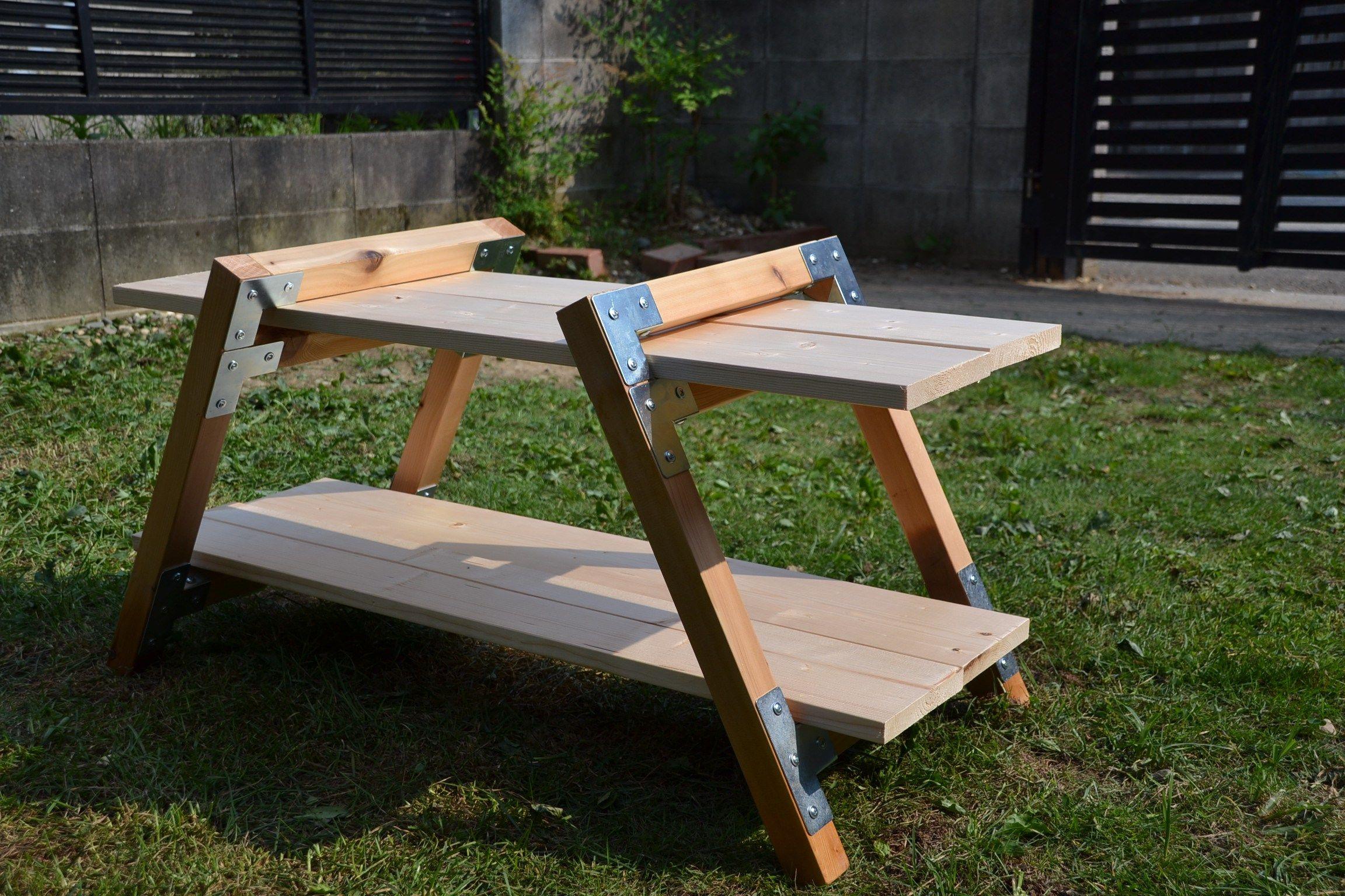 キャンプサイト用の棚を自作 簡単手抜きdiy 棚 自作 アウトドア テーブル 自作 キャンプ テーブル Diy