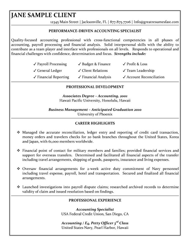 Accounting Specialist Resume Sample COLLEGE Pinterest Sample