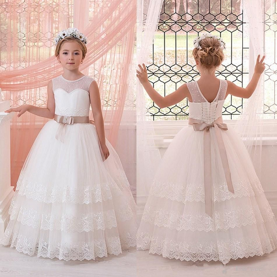 Click to buy ucuc newest pearl crew neck flower girls dresses for