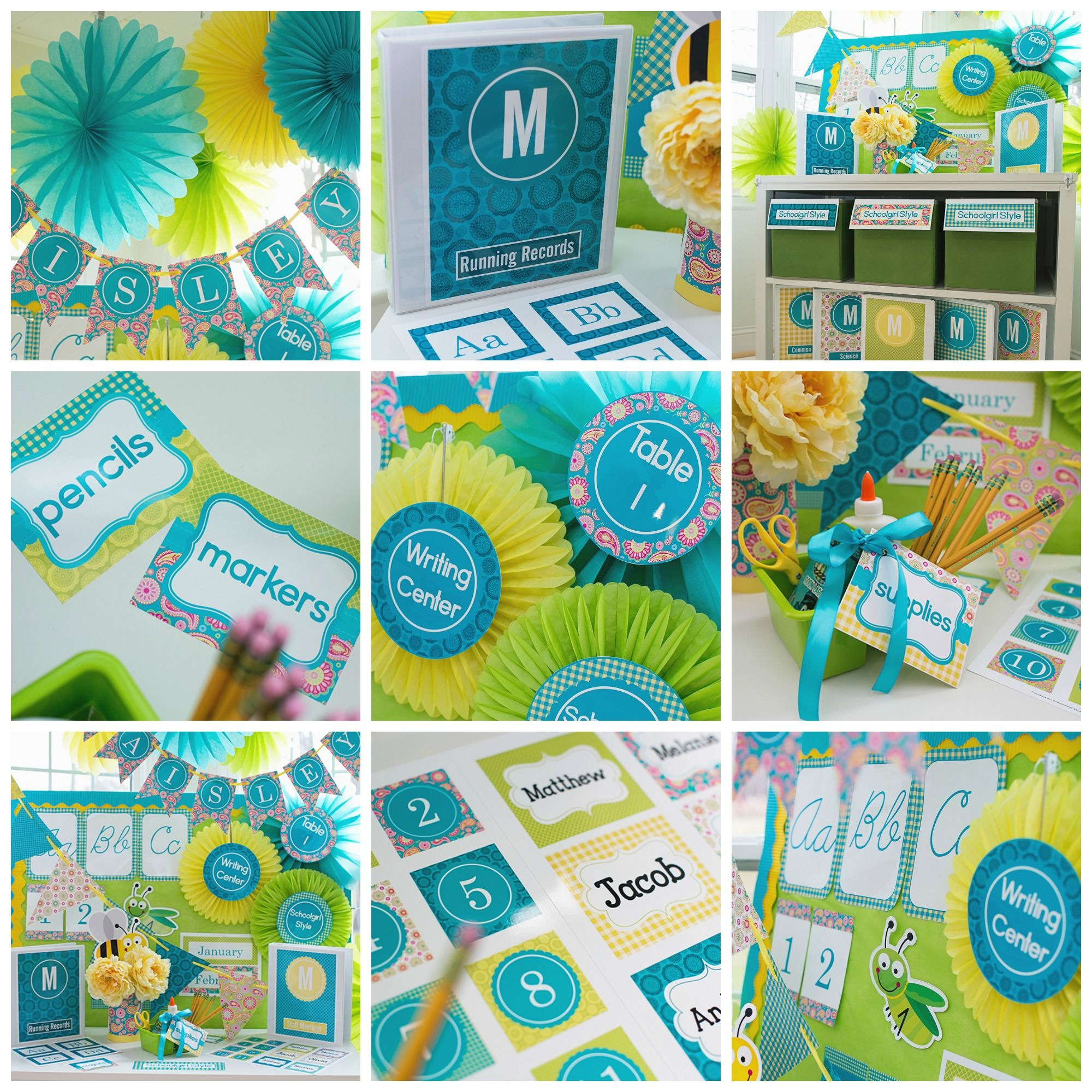 Turquoise Classroom Decor : Turquoise yellow pink paisley classroom decor and theme by