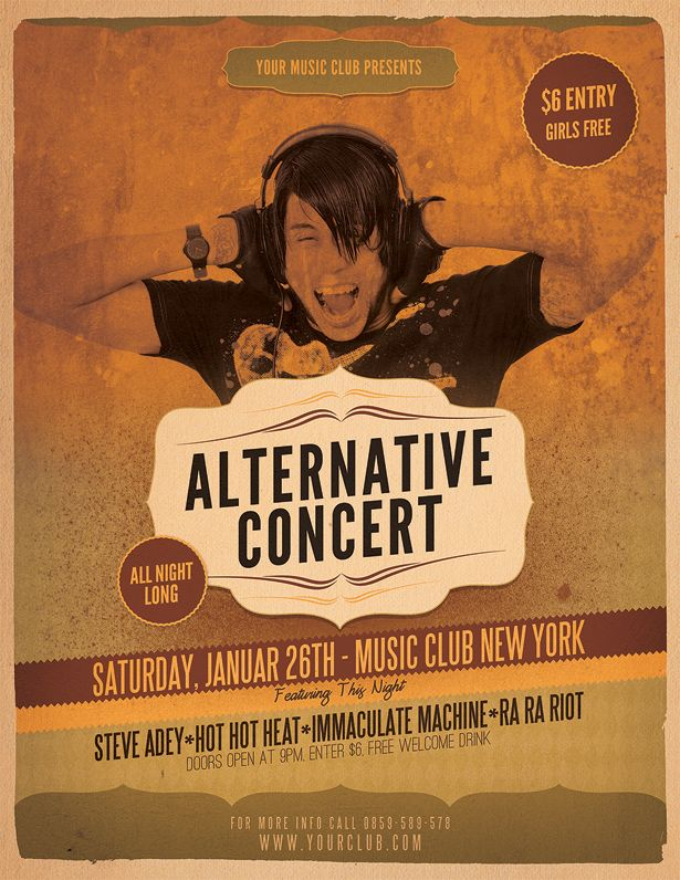 alternative concert flyer template gig posters pinterest