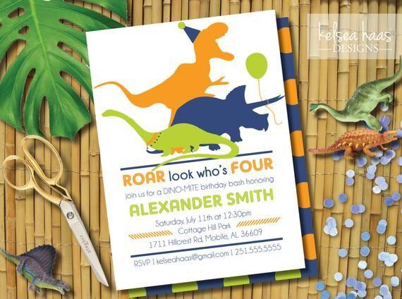 Dinosaur Birthday Invitation Roar Look Whos Four 4th Party Personalized Digital Printa