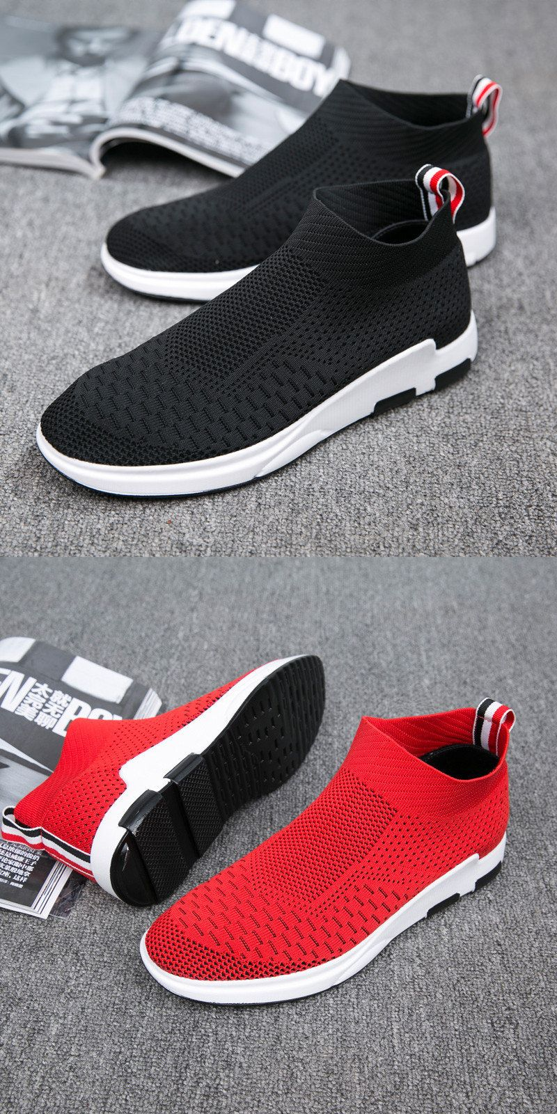 Men's Shoes New Fashion Casual Mens Shoes Slip On Knitted Stretch Fabric Sock Booties Extended Sole Platforms Trainers Mens Sneaker Formal Shoes