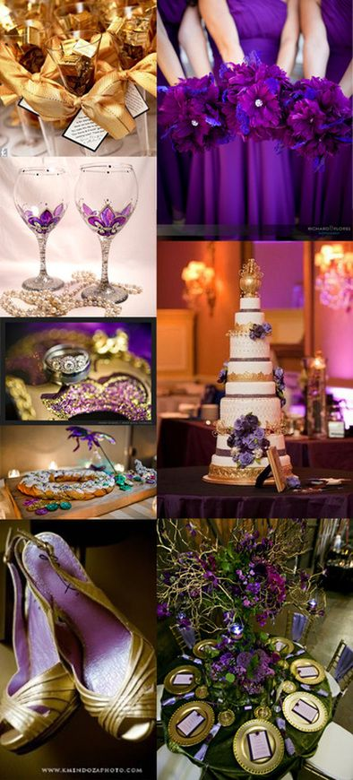 Mardi Gras themed weddings with purple, gold, and splashes of green.  Not a fan of everything on here but gold as a possible accent as opposed to silver might work..