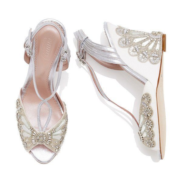 93713ac77 EVELYN IVORY WEDGE BRIDAL SANDAL BY EMMY LONDON - The Evelyn Ivory wedge  bridal sandal is a celebration of our iconic Cinderella style coupled with  the ...