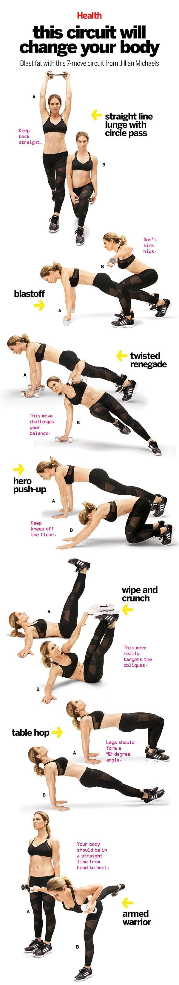 Jillian Michaels This 7Move Circuit Will Change Your Body is part of Easy yoga workouts - Transform your body in 4 weeks with this calorietorching exercise series