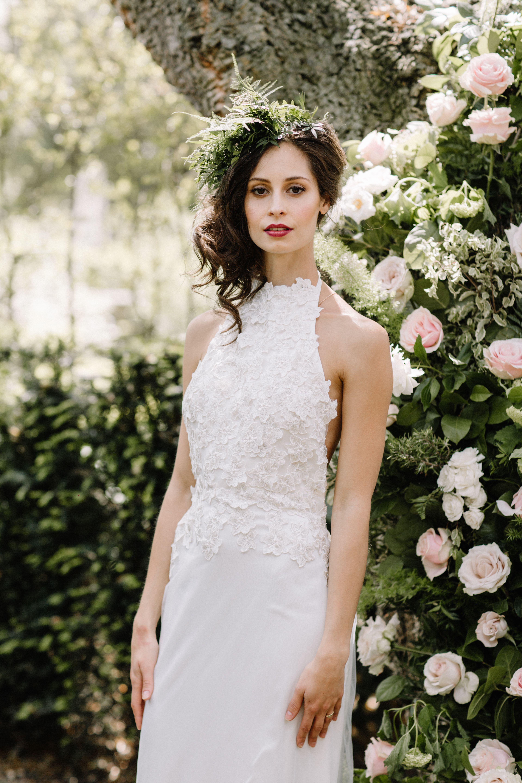 Backless halterneck wedding dress bohobride
