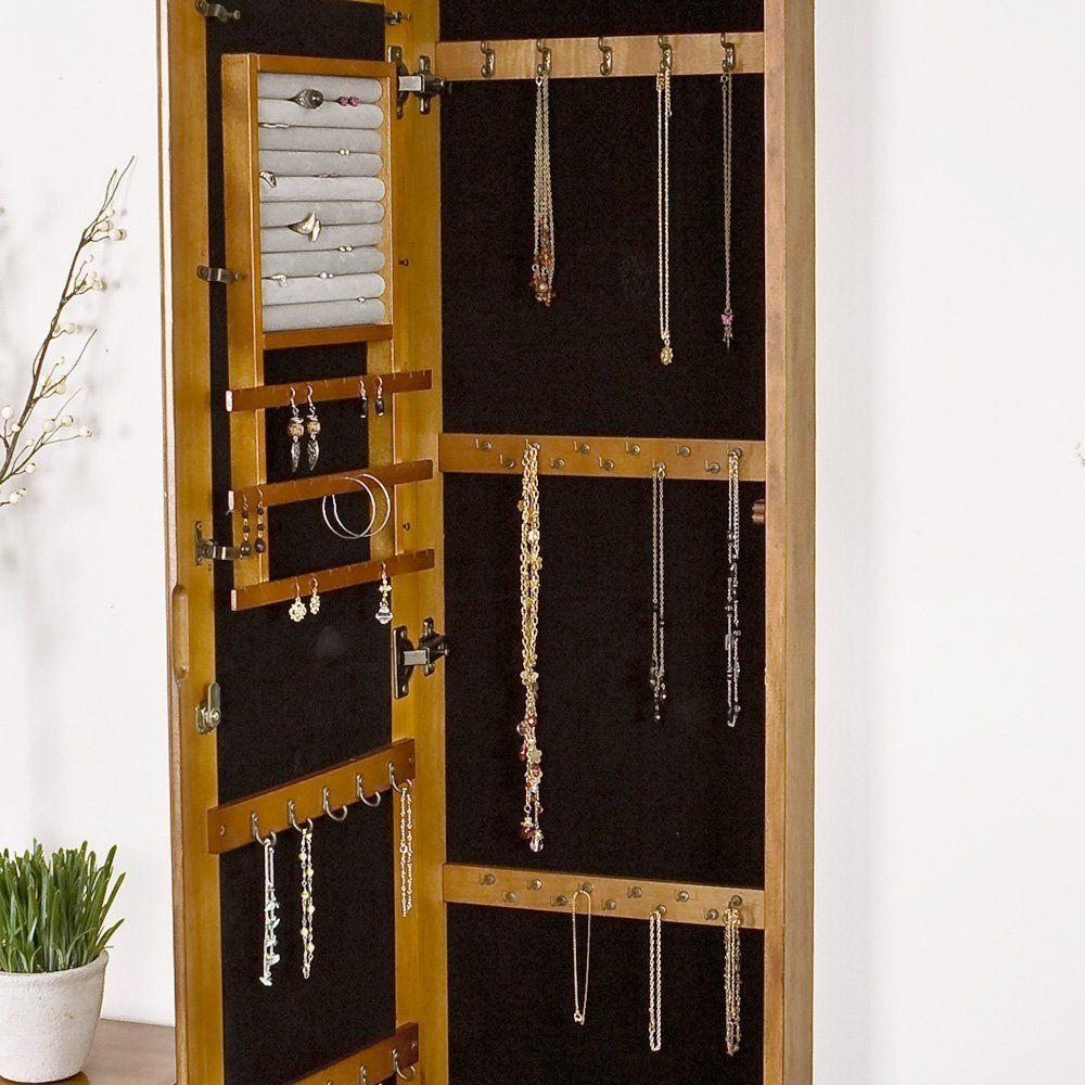 Amazon Com Sei Wall Mount Jewelry Armoire With Mirror Oak Floor Jewelry Box Wall Mounted Jewelry Armoire Jewelry Mirror Jewelry Armoire