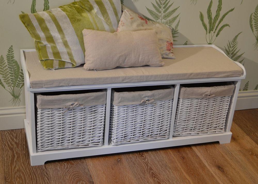 Bayside White Bench with storage baskets.Hallway white
